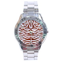 Skin2 White Marble & Reddish Brown Leather (r) Stainless Steel Analogue Watch by trendistuff