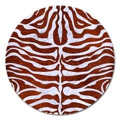 Skin2 White Marble & Reddish Brown Leather Magnet 5  (round)