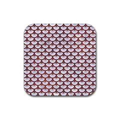 Scales3 White Marble & Reddish Brown Leather (r) Rubber Square Coaster (4 Pack)  by trendistuff