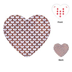 Scales3 White Marble & Reddish Brown Leather (r) Playing Cards (heart)  by trendistuff