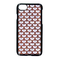 Scales3 White Marble & Reddish Brown Leather (r) Apple Iphone 7 Seamless Case (black) by trendistuff