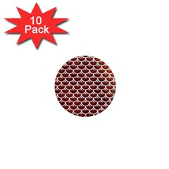 Scales3 White Marble & Reddish Brown Leather 1  Mini Magnet (10 Pack)  by trendistuff