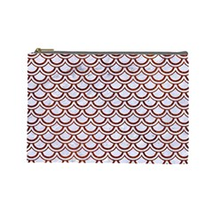 Scales2 White Marble & Reddish Brown Leather (r) Cosmetic Bag (large)  by trendistuff