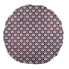 Scales2 White Marble & Reddish Brown Leather (r) Large 18  Premium Flano Round Cushions by trendistuff