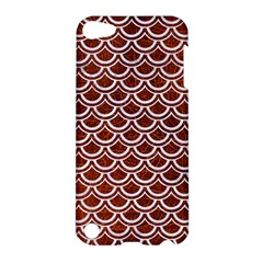Scales2 White Marble & Reddish Brown Leather Apple Ipod Touch 5 Hardshell Case by trendistuff