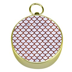 Scales1 White Marble & Reddish Brown Leather (r) Gold Compasses by trendistuff