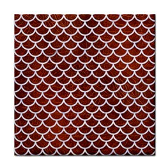 Scales1 White Marble & Reddish Brown Leather Tile Coasters by trendistuff