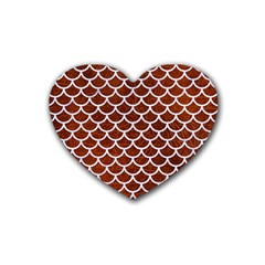 Scales1 White Marble & Reddish Brown Leather Heart Coaster (4 Pack)  by trendistuff