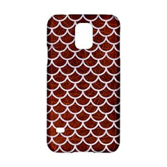 Scales1 White Marble & Reddish Brown Leather Samsung Galaxy S5 Hardshell Case  by trendistuff