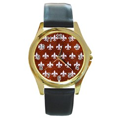 Royal1 White Marble & Reddish Brown Leather (r) Round Gold Metal Watch by trendistuff