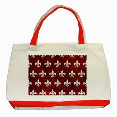 Royal1 White Marble & Reddish Brown Leather (r) Classic Tote Bag (red) by trendistuff