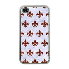 Royal1 White Marble & Reddish Brown Leather Apple Iphone 4 Case (clear) by trendistuff