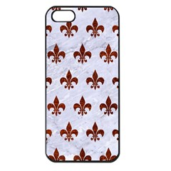 Royal1 White Marble & Reddish Brown Leather Apple Iphone 5 Seamless Case (black) by trendistuff