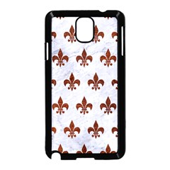 Royal1 White Marble & Reddish Brown Leather Samsung Galaxy Note 3 Neo Hardshell Case (black) by trendistuff