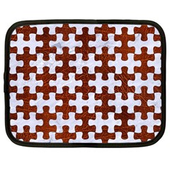 Puzzle1 White Marble & Reddish Brown Leather Netbook Case (large) by trendistuff