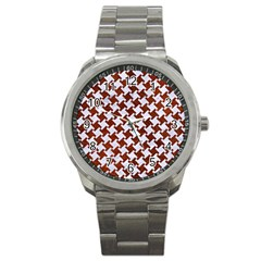 Houndstooth2 White Marble & Reddish Brown Leather Sport Metal Watch by trendistuff