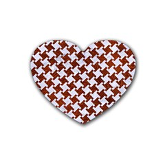 Houndstooth2 White Marble & Reddish Brown Leather Rubber Coaster (heart)  by trendistuff