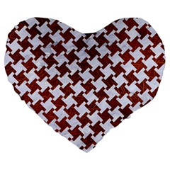 Houndstooth2 White Marble & Reddish Brown Leather Large 19  Premium Heart Shape Cushions by trendistuff