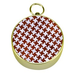 Houndstooth2 White Marble & Reddish Brown Leather Gold Compasses by trendistuff
