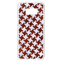 Houndstooth2 White Marble & Reddish Brown Leather Samsung Galaxy S8 Plus White Seamless Case by trendistuff