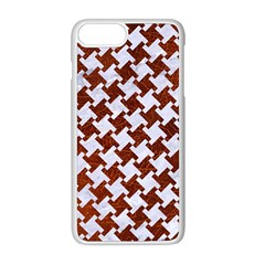 Houndstooth2 White Marble & Reddish Brown Leather Apple Iphone 8 Plus Seamless Case (white)