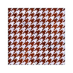 Houndstooth1 White Marble & Reddish Brown Leather Acrylic Tangram Puzzle (6  X 6 ) by trendistuff