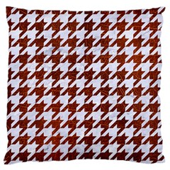 Houndstooth1 White Marble & Reddish Brown Leather Standard Flano Cushion Case (one Side) by trendistuff