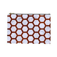 Hexagon2 White Marble & Reddish Brown Leather (r) Cosmetic Bag (large)  by trendistuff