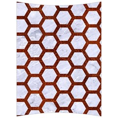 Hexagon2 White Marble & Reddish Brown Leather (r) Back Support Cushion by trendistuff