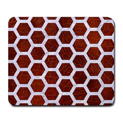 Hexagon2 White Marble & Reddish Brown Leather Large Mousepads