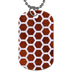Hexagon2 White Marble & Reddish Brown Leather Dog Tag (two Sides) by trendistuff