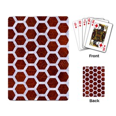 Hexagon2 White Marble & Reddish Brown Leather Playing Card by trendistuff