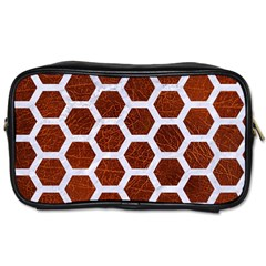 Hexagon2 White Marble & Reddish Brown Leather Toiletries Bags by trendistuff