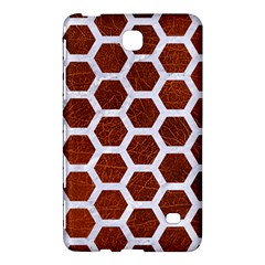 Hexagon2 White Marble & Reddish Brown Leather Samsung Galaxy Tab 4 (7 ) Hardshell Case  by trendistuff