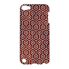 Hexagon1 White Marble & Reddish Brown Leather Apple Ipod Touch 5 Hardshell Case by trendistuff