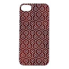Hexagon1 White Marble & Reddish Brown Leather Apple Iphone 5s/ Se Hardshell Case