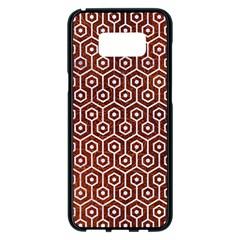 Hexagon1 White Marble & Reddish Brown Leather Samsung Galaxy S8 Plus Black Seamless Case by trendistuff
