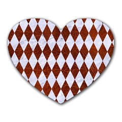 Diamond1 White Marble & Reddish Brown Leather Heart Mousepads by trendistuff