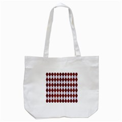 Diamond1 White Marble & Reddish Brown Leather Tote Bag (white) by trendistuff