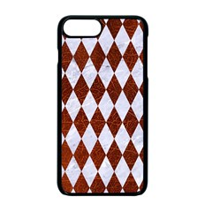 Diamond1 White Marble & Reddish Brown Leather Apple Iphone 7 Plus Seamless Case (black)