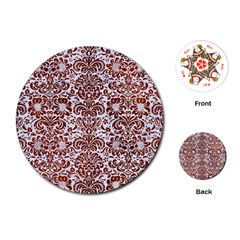 Damask2 White Marble & Reddish Brown Leather (r) Playing Cards (round)  by trendistuff