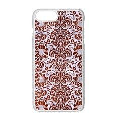 Damask2 White Marble & Reddish Brown Leather (r) Apple Iphone 8 Plus Seamless Case (white) by trendistuff