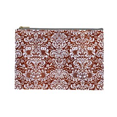 Damask2 White Marble & Reddish Brown Leather Cosmetic Bag (large)  by trendistuff
