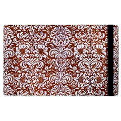 Damask2 White Marble & Reddish Brown Leather Apple Ipad 2 Flip Case by trendistuff