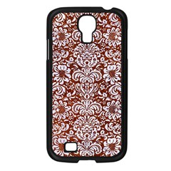 Damask2 White Marble & Reddish Brown Leather Samsung Galaxy S4 I9500/ I9505 Case (black) by trendistuff