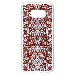 Damask2 White Marble & Reddish Brown Leather Samsung Galaxy S8 Plus White Seamless Case by trendistuff