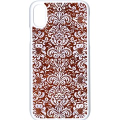 Damask2 White Marble & Reddish Brown Leather Apple Iphone X Seamless Case (white)