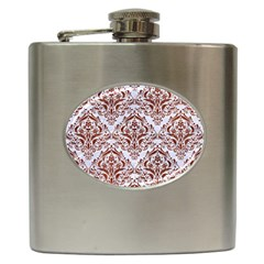 Damask1 White Marble & Reddish Brown Leather (r) Hip Flask (6 Oz) by trendistuff