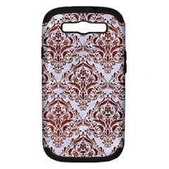 Damask1 White Marble & Reddish Brown Leather (r) Samsung Galaxy S Iii Hardshell Case (pc+silicone) by trendistuff