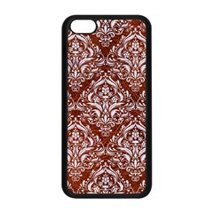 Damask1 White Marble & Reddish Brown Leather Apple Iphone 5c Seamless Case (black) by trendistuff